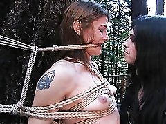 Filthy shemale domme playing with her puppy