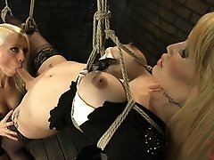 Ts sensation, Eva Lin bound in rope bondage & fucked by sexy Lorelei Lee. Eva is made to jerk her cock & submit her cum to Miss Lee.