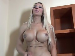 Monster Cock Blonde stroking to the Max while her huge tits bounce
